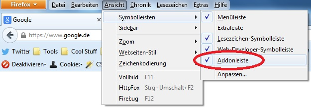 AddOn-Leiste im Firefox aktivieren