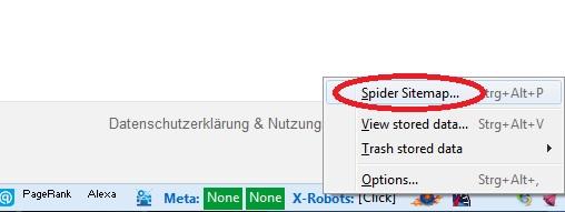 Dust-Me Funktion Sitemap spidern auswählen