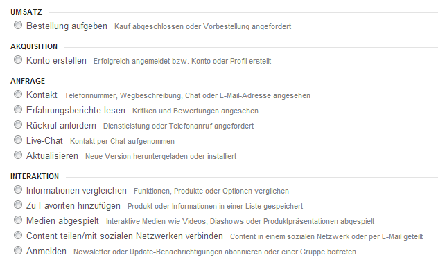 Conversion-Ziele aus Google Analytics