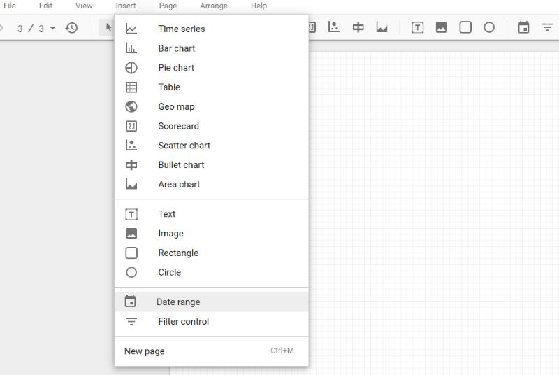 Auswahl des Diagramms im Data Studio