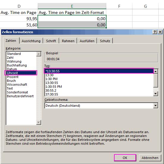 AvgTimeOnPage in Excel Zellen als Uhrzeit formatieren