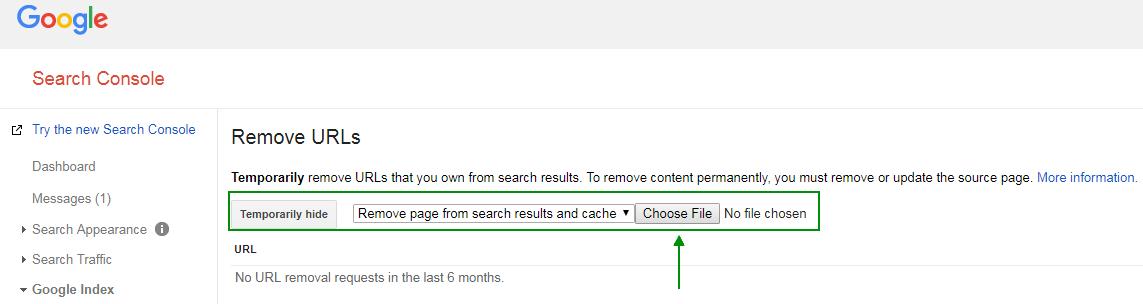 Removal Tool zur Deindexierung von Webseiten - Google Search Console - Choose File
