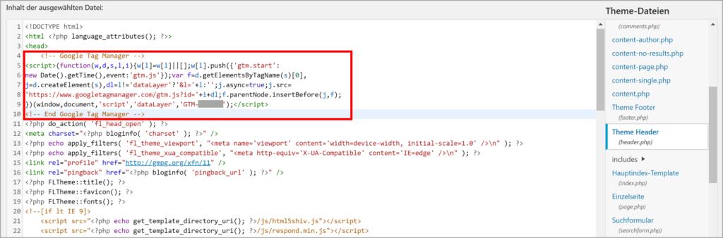 "GTM-Code im<head>"" class=""wp-image-1158″/><figcaption>Wie man den GTM-Code im -Tag platziert?</figcaption></figure><figure class=wp-block-image><img src=https://marketingradar.de/wp-content/uploads/2020/05/gtm-code-body-1024x220.png alt="