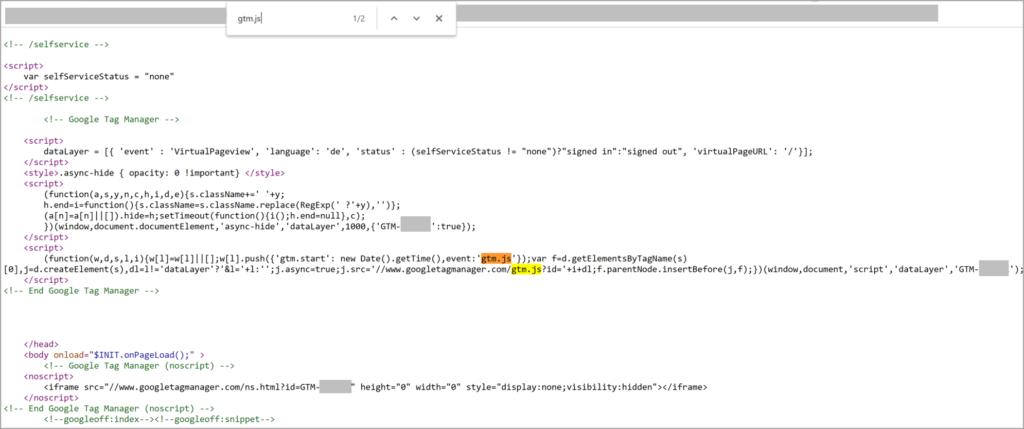 GTM-Container im Quellcode